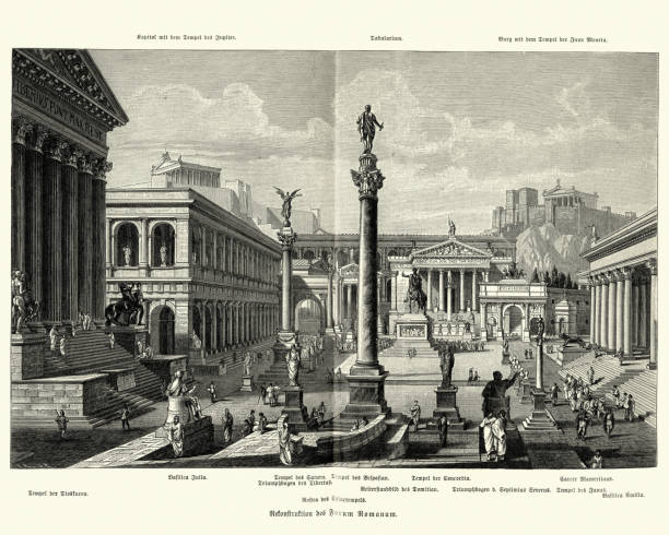 Ancient Roman Forum Vintage engraving of the Ancient Roman Forum roman forum stock illustrations