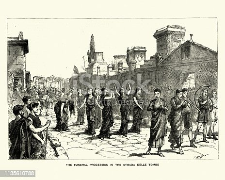 Vintage engraving of a Ancient Roman funeral procession in the Strada Delle Tombe