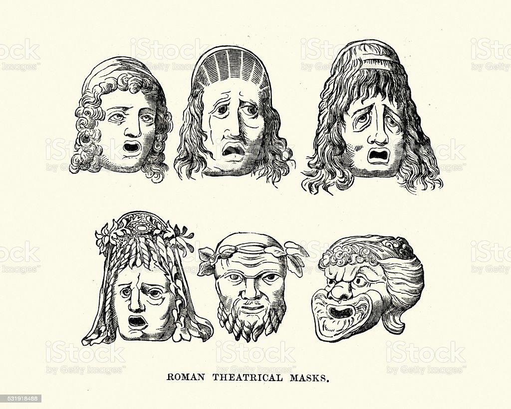 Ancient Roman Theatrical Masks vector art illustration