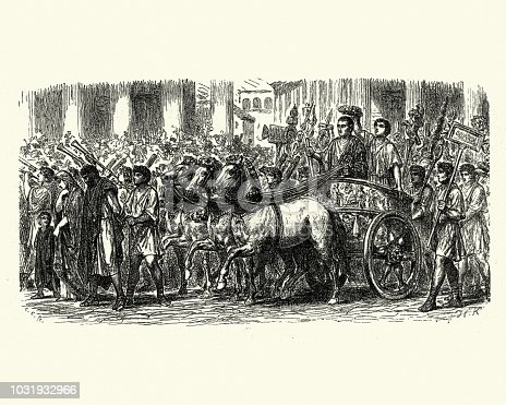 Vintage engraving of a Ancient Roman triumph (triumphus) a civil ceremony and religious rite of ancient Rome, held to publicly celebrate and sanctify the success of a military commander