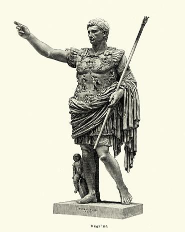 古代ローマ、プリマポルタのアウグストゥス、ローマ皇帝 - イラスト素材...