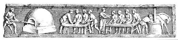 illustrazioni stock, clip art, cartoni animati e icone di tendenza di ancient rome, bakery - impastare