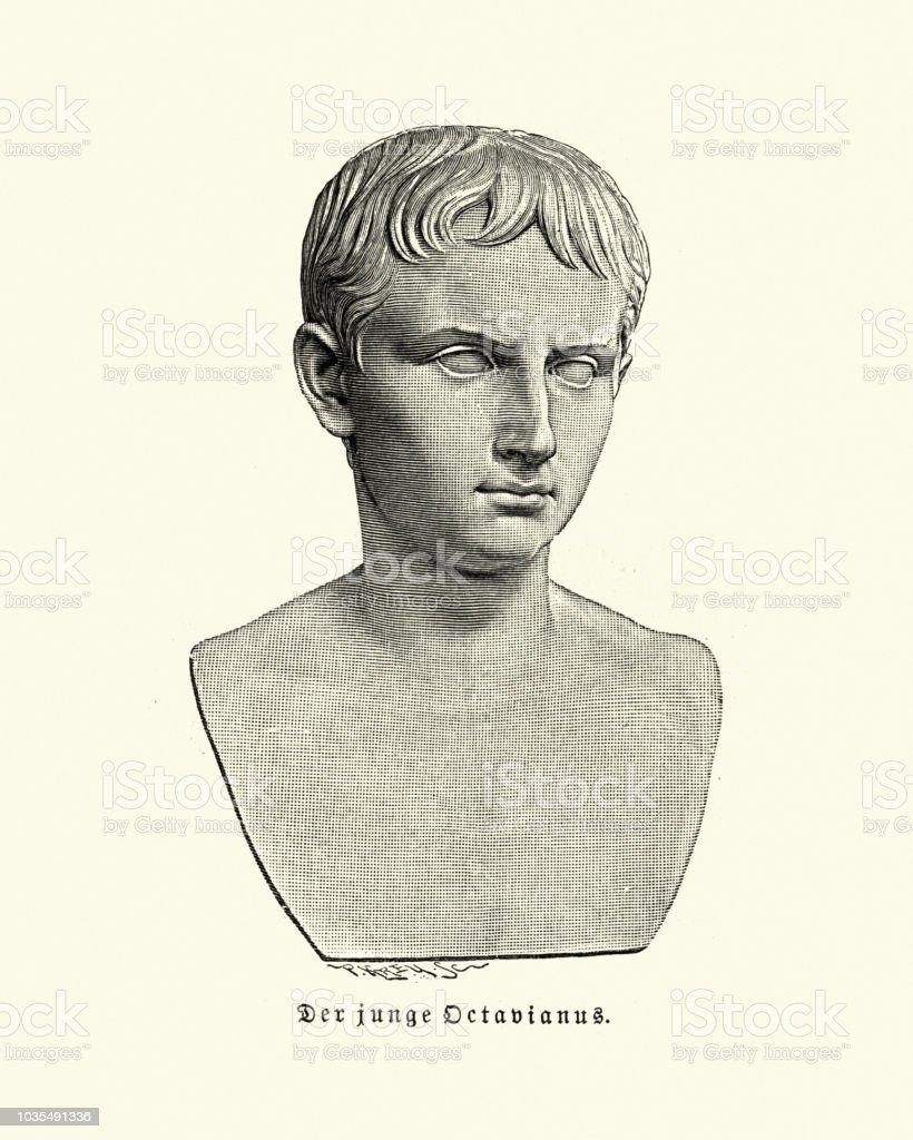 Ancient Rome, Bust of Octavian, later Augustus Roman emperor vector art illustration