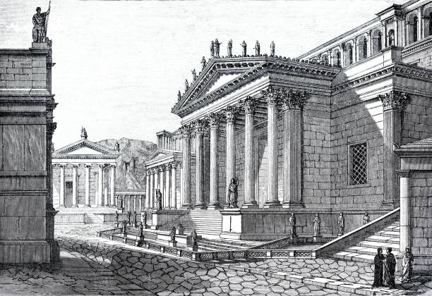 Ancient rome: forum romanum Illustration from 19th century roman forum stock illustrations