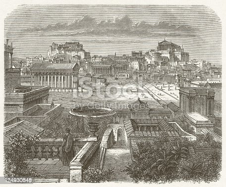 View of the Capitol and the Forum Romanum in Rome during ancient times. Visual reconstruction. Woodcut engraving, published in 1881.
