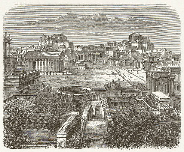 Ancient Rome, Forum Romanum, wood engraving, published in 1881 View of the Capitol and the Forum Romanum in Rome during ancient times. Visual reconstruction. Woodcut engraving, published in 1881. ancient rome stock illustrations