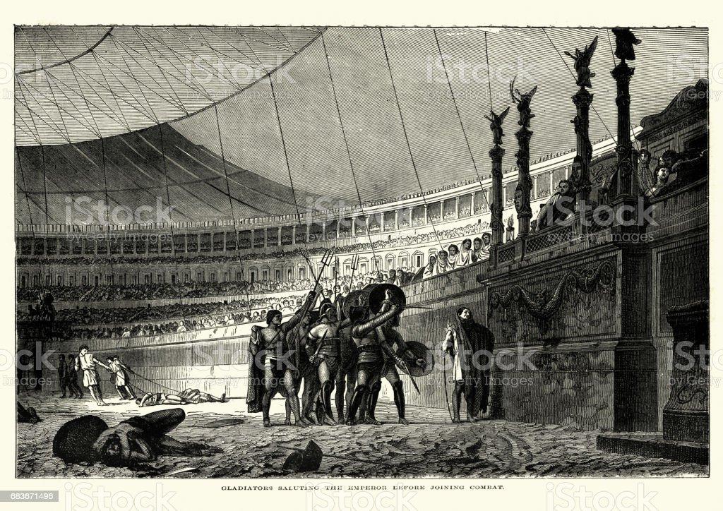 Ancient Rome, Gladiators saluting the Emperor before combat vector art illustration