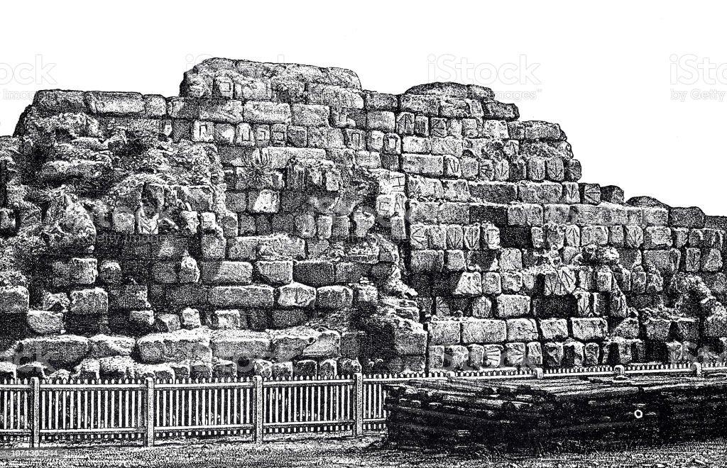 古代ローマセルウィウス城壁の残...