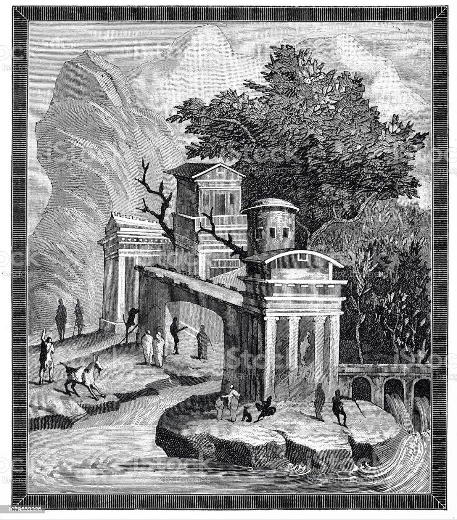 La Rome Antique Peinture Murale De Pompéi Porte Et Paysage