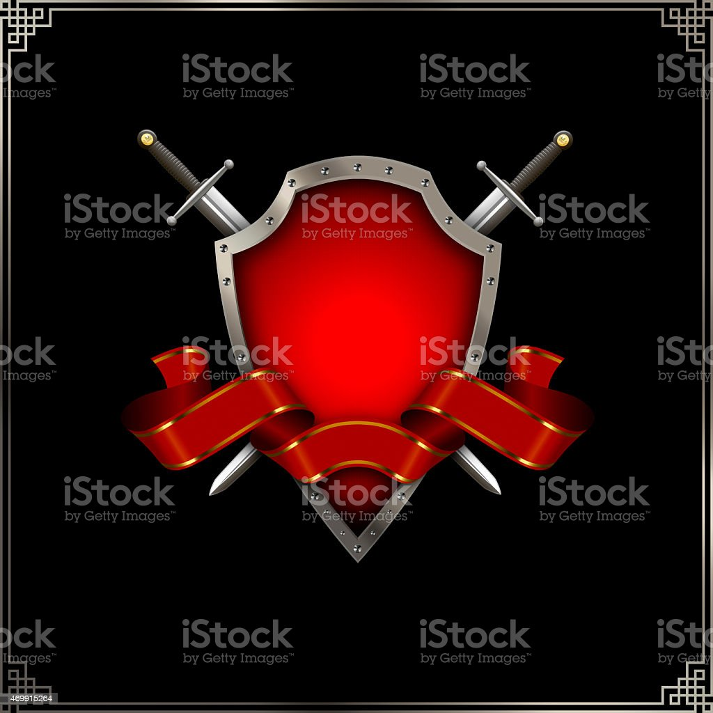 Ancient shield and swords and red ribbon. vector art illustration