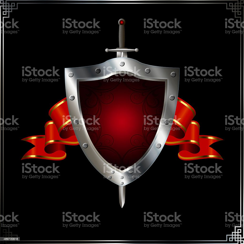 Ancient shield with sword and red ribbon. vector art illustration