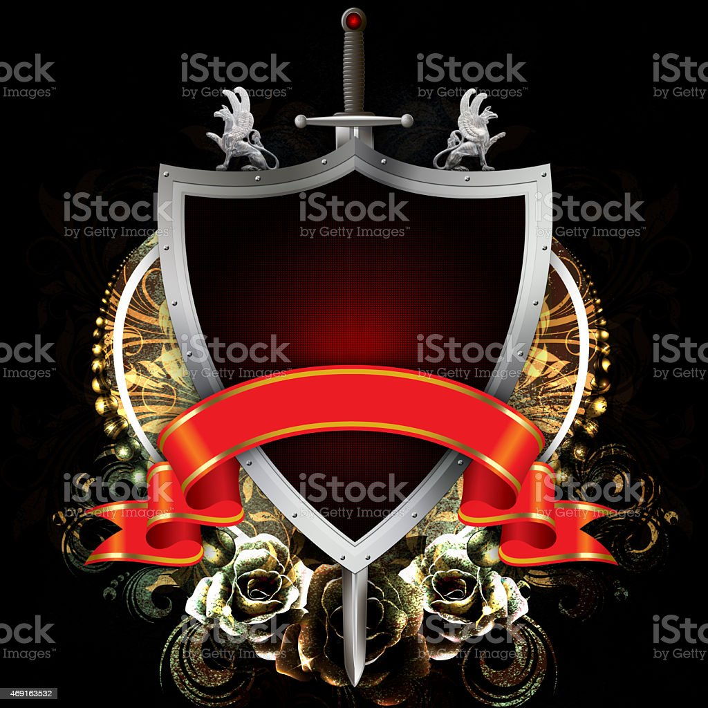 Ancient shield with sword and red ribbon on grunge background. vector art illustration