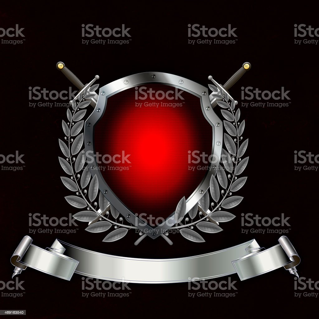 Ancient silver red shield with laurel branch and swords. vector art illustration