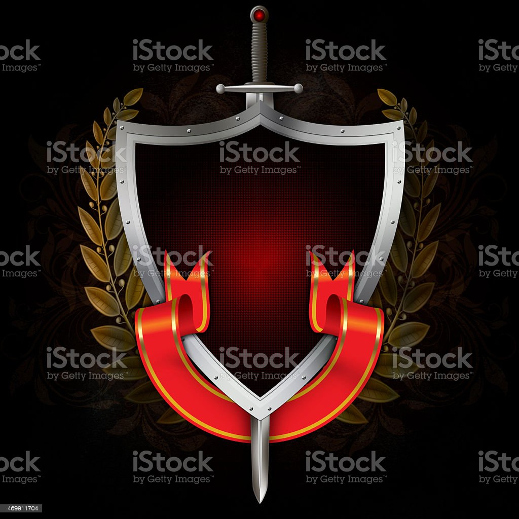 Ancient silver shield with sword and red ribbon. vector art illustration