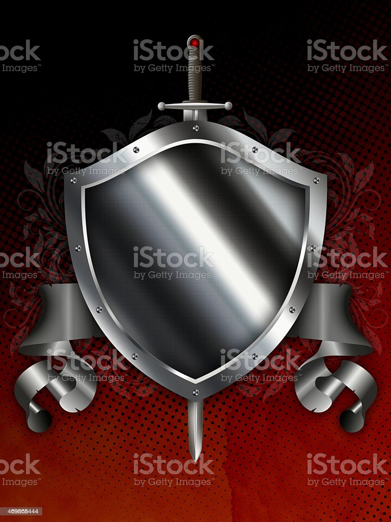 Ancient silver shield with sword and silver ribbon. vector art illustration