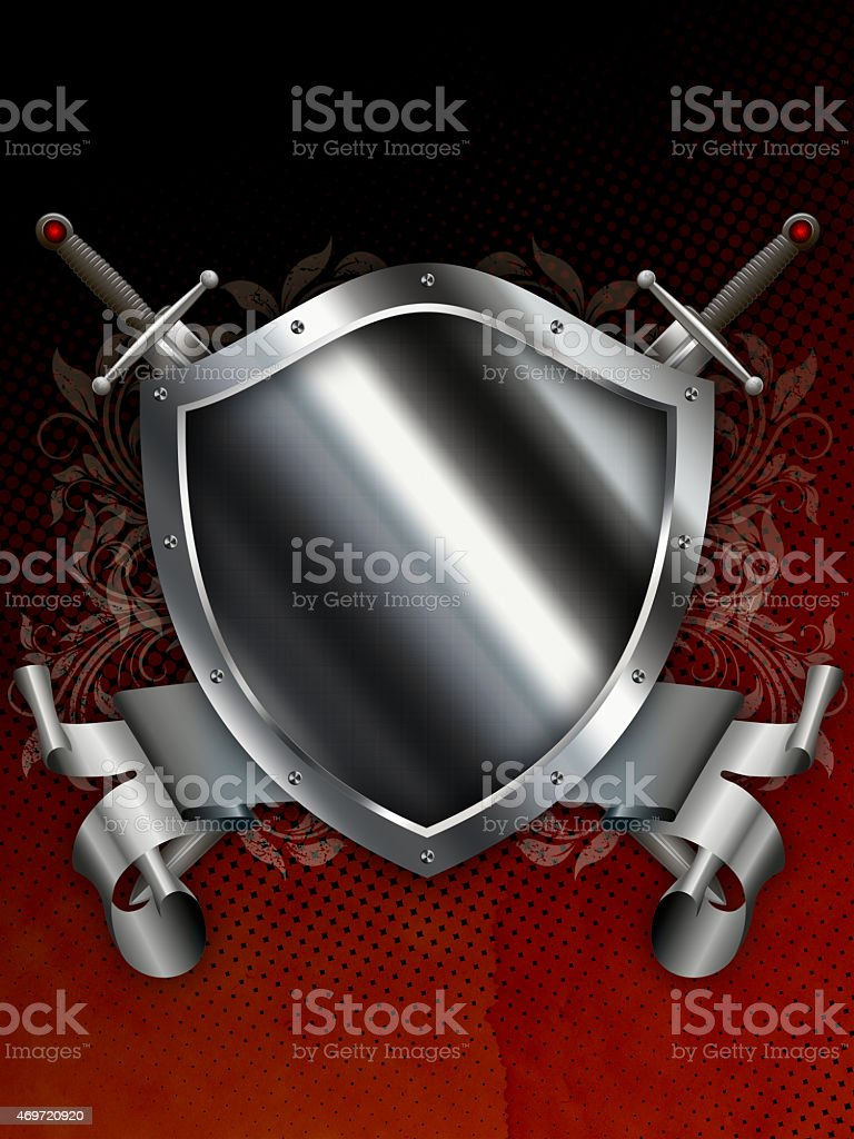 Ancient silver shield with two swords and silver ribbon. vector art illustration