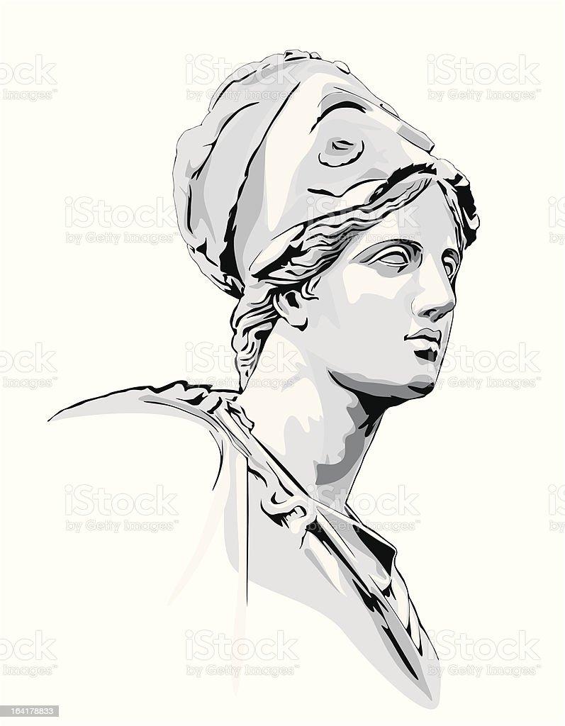 Ancient statue vector art illustration