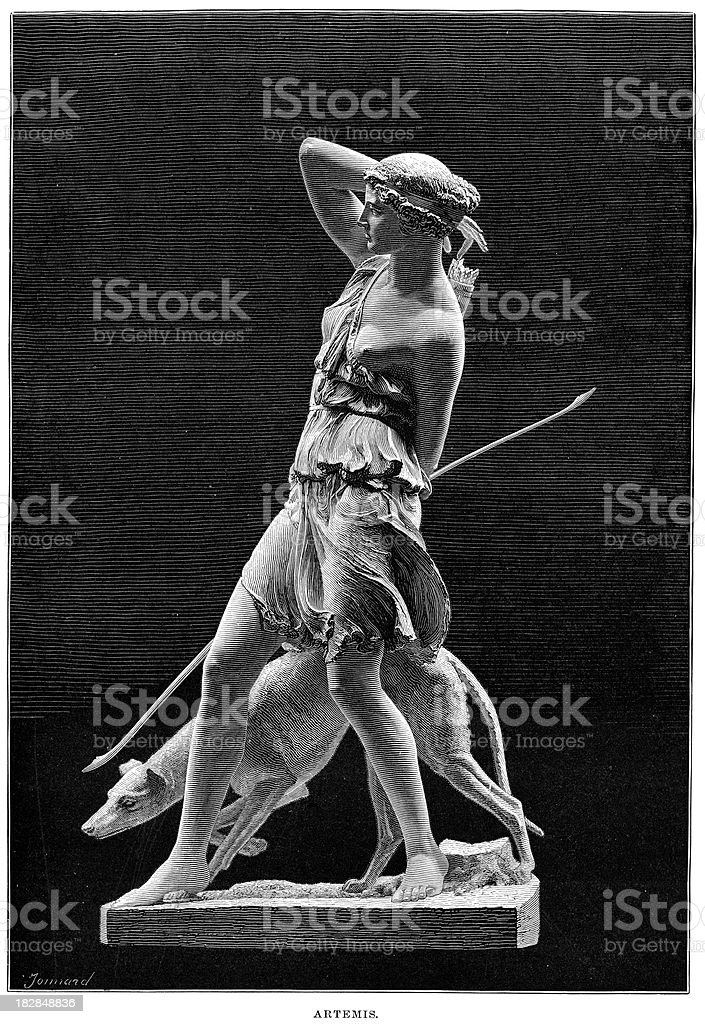 Ancient Statue of the Goddess Artemis vector art illustration