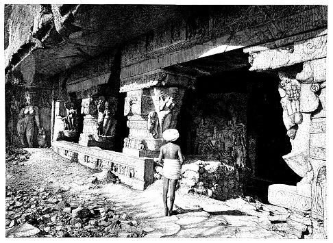 Ancient Stone Columns In Ellora Caves