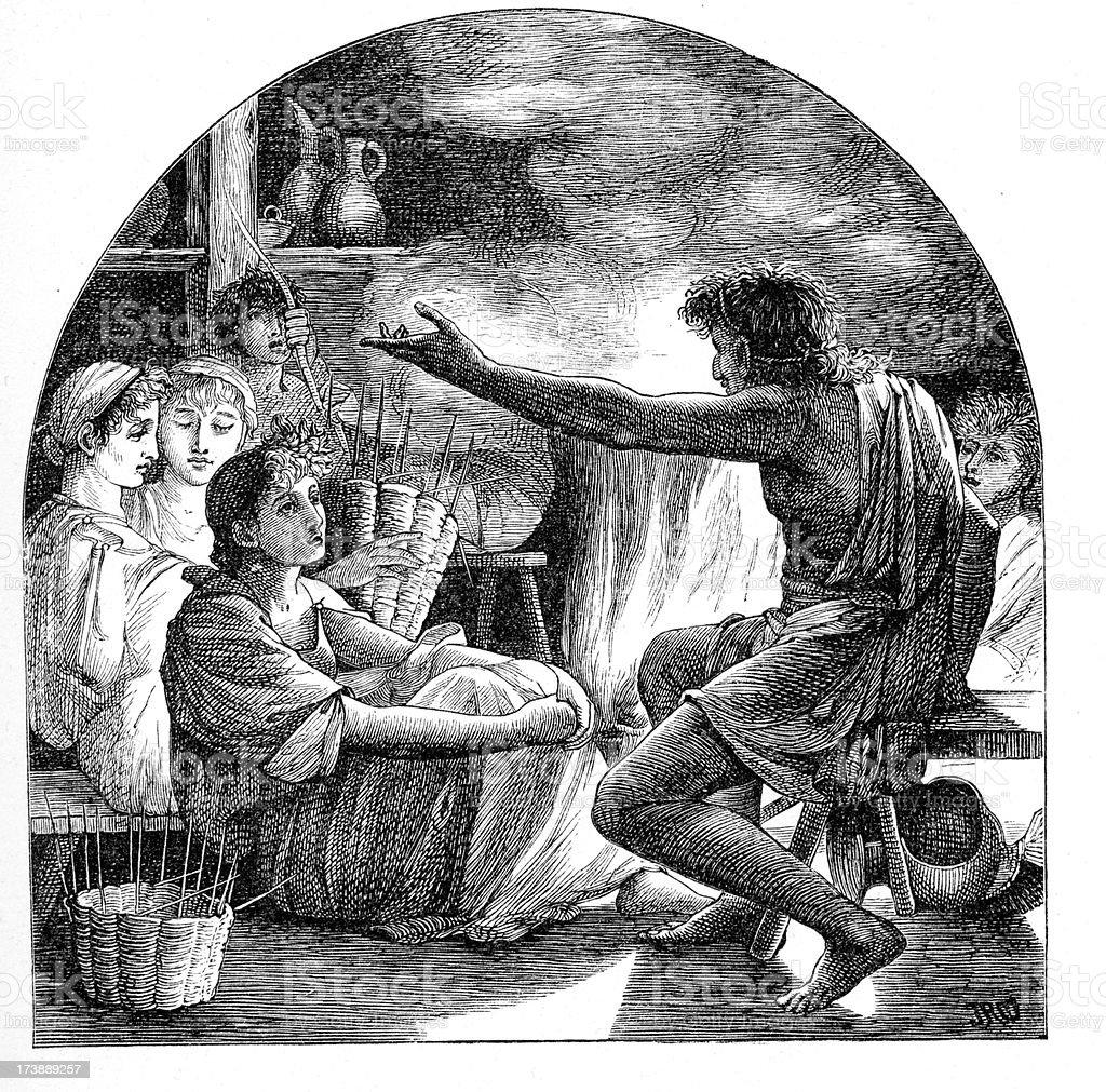 Ancient storytelling royalty-free stock vector art