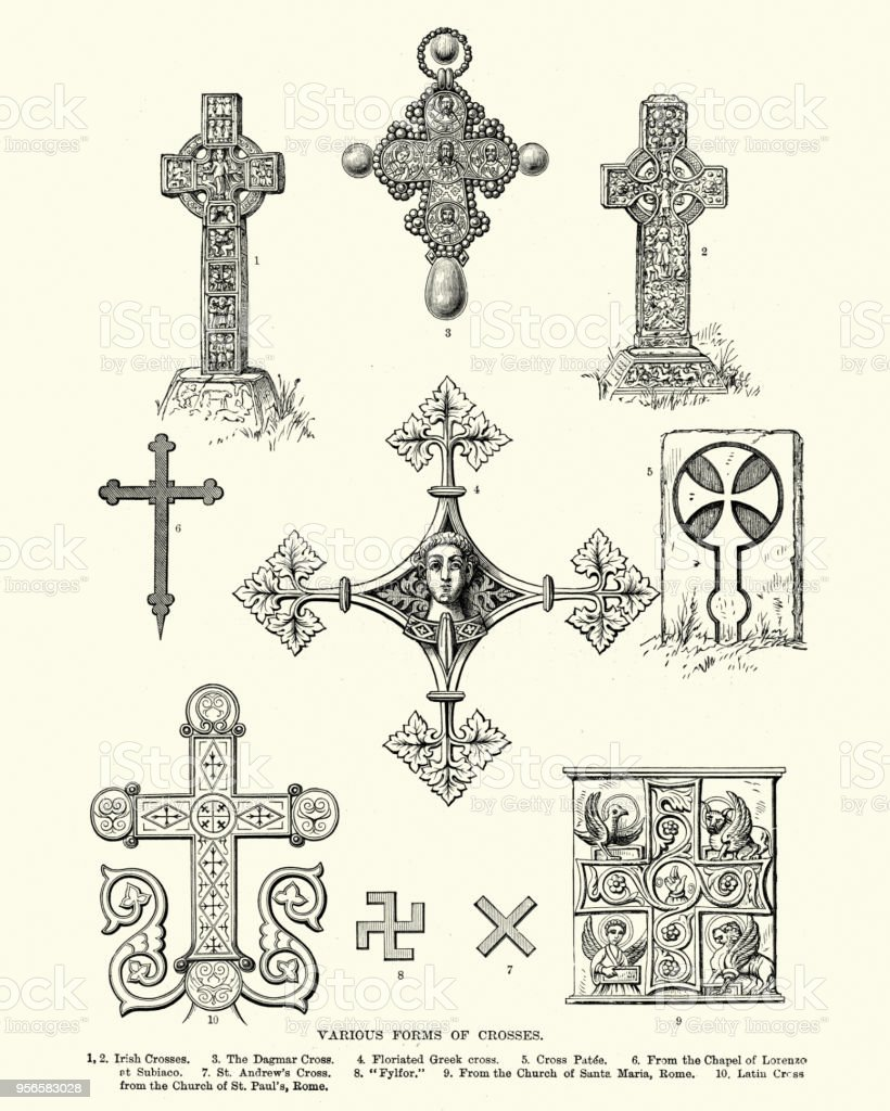 Ancient Symbols Various Forms Of Crosses Stock Vector Art More