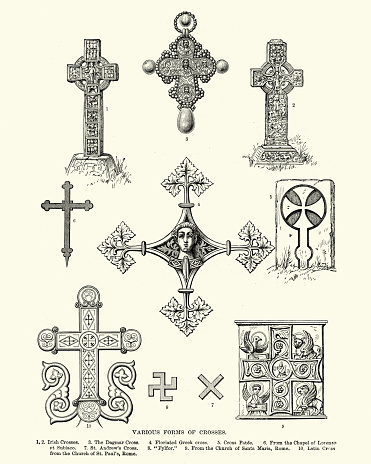Vintage engraving of Various forms of Crosses