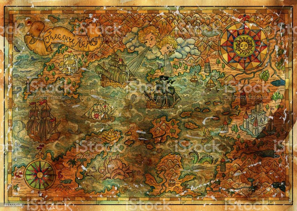 Ilustración De Mapa De Tesoros Antiguos Barcos Piratas Brújulas