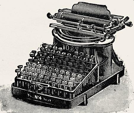 Ancient Typewriter on white background