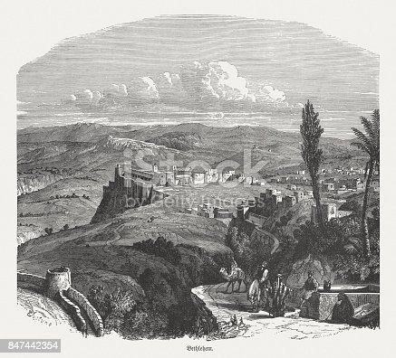Ancient view of Bethlehem. Wood engraving, published in 1886.