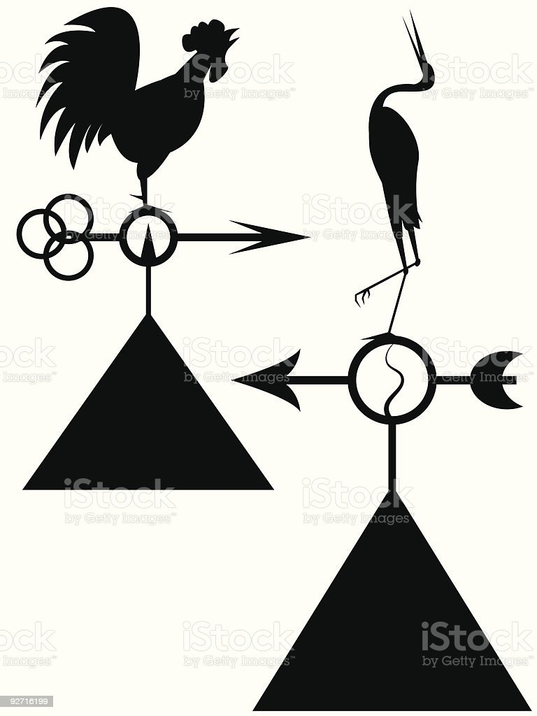 ancient windvanes vector art illustration
