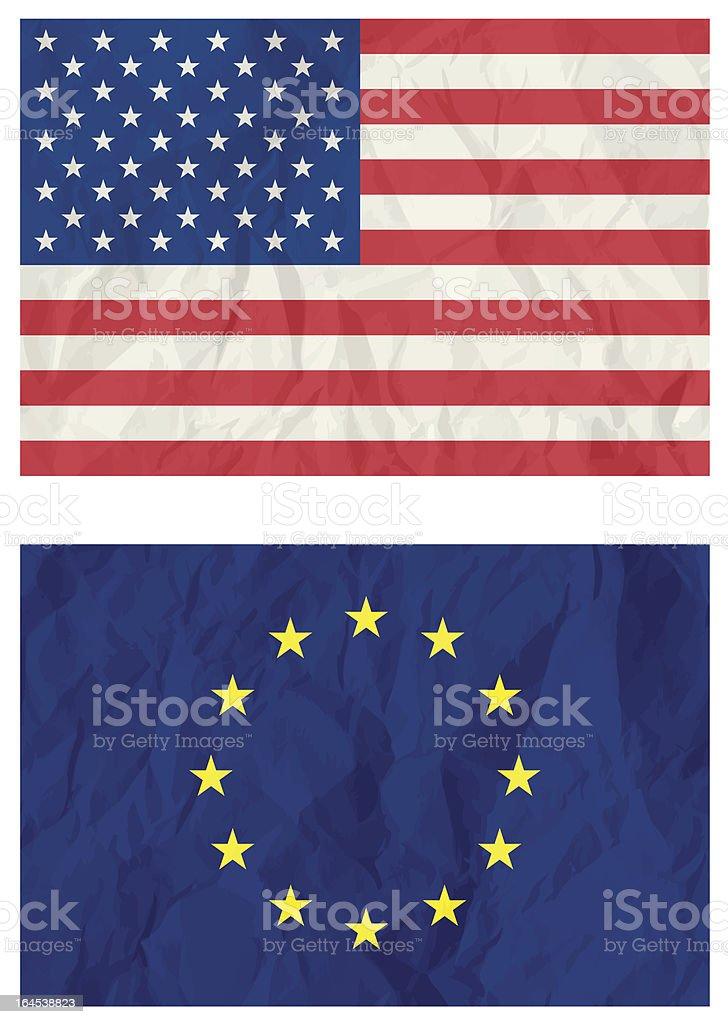 USA and euro flag royalty-free stock vector art