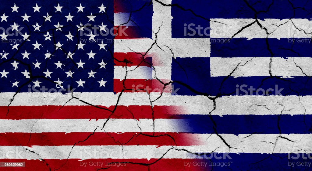 Usa And Greece Flag Together With Dried Soil Texture Stock Vector