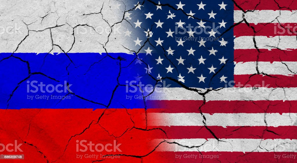 USA and Russia flag together, with dried soil texture vector art illustration