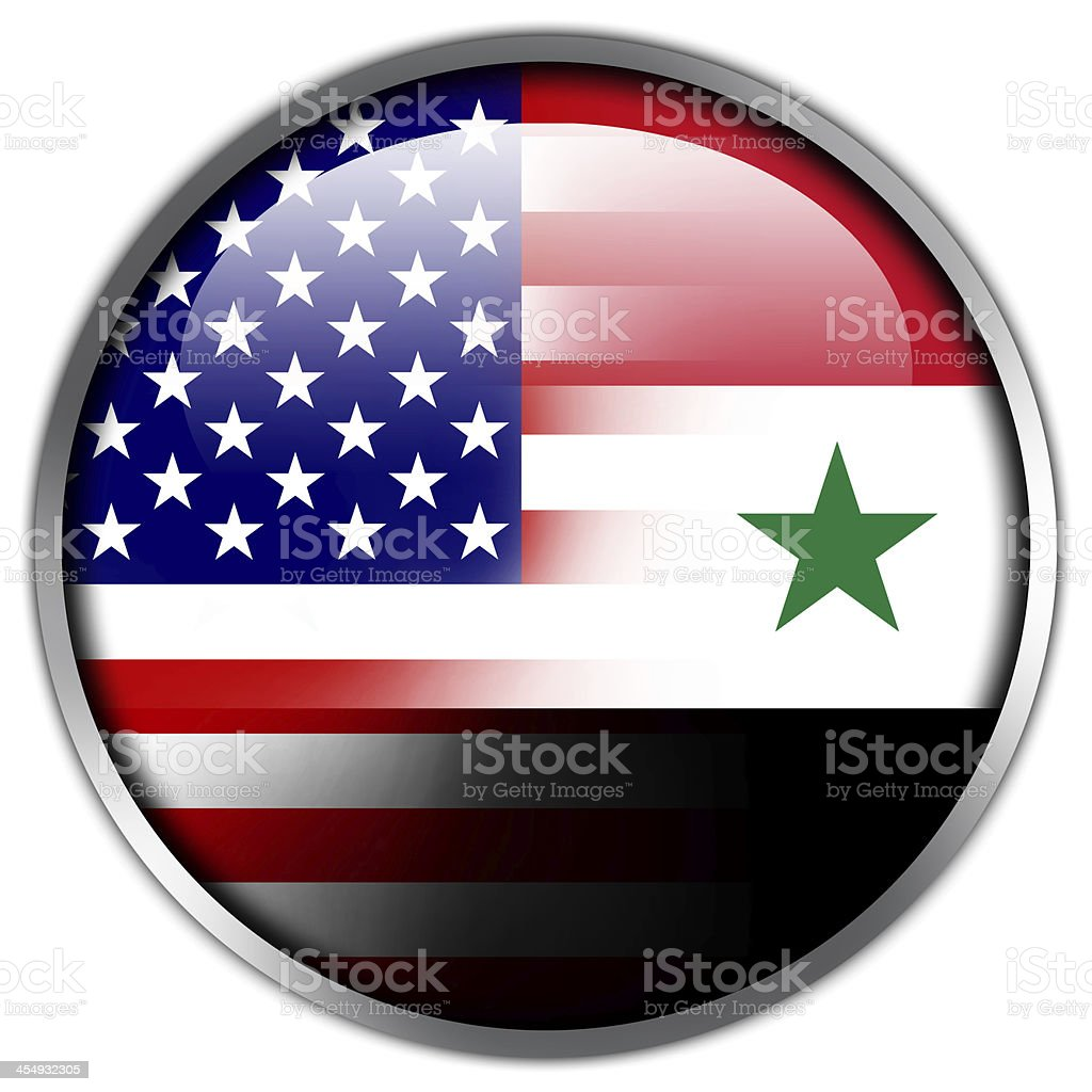 USA and Syria Flag glossy button royalty-free stock vector art