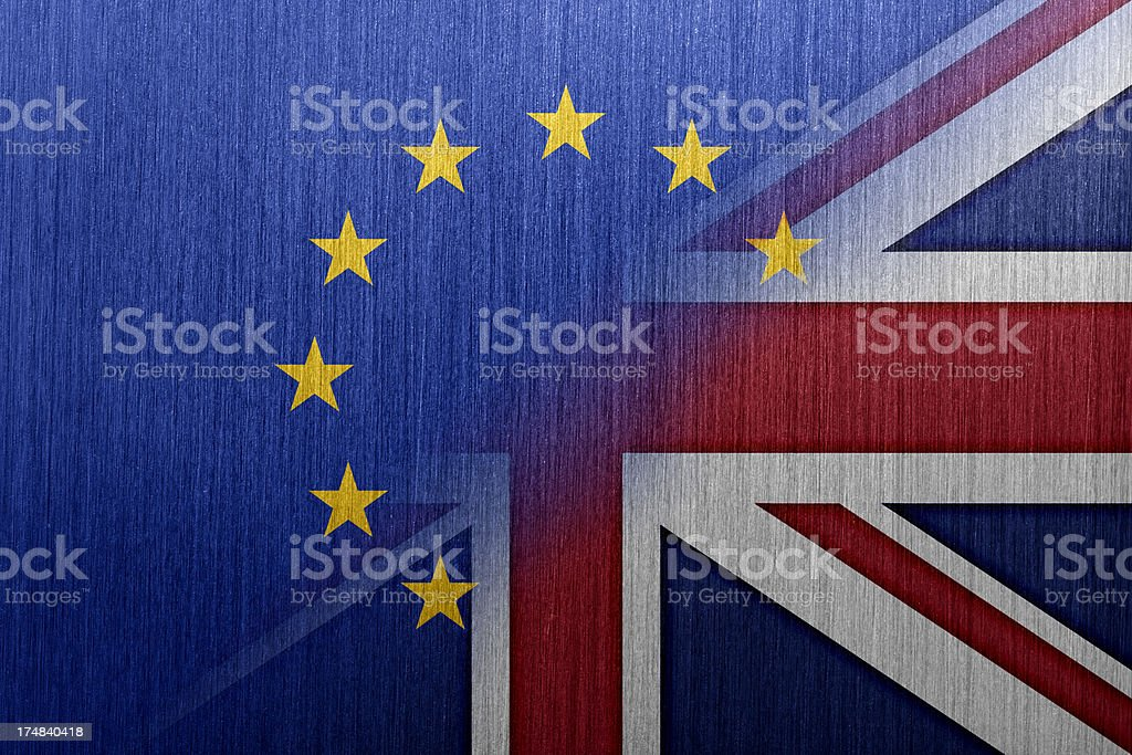 EU and UK Flags vector art illustration