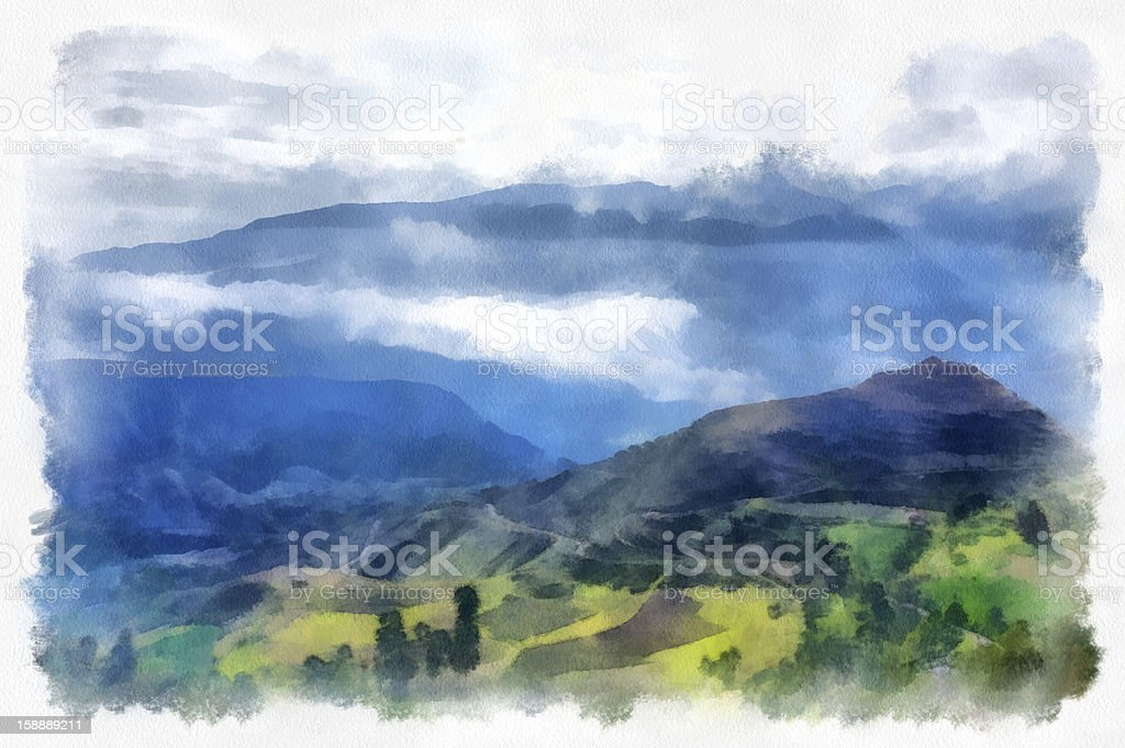 Andes Mountains vector art illustration