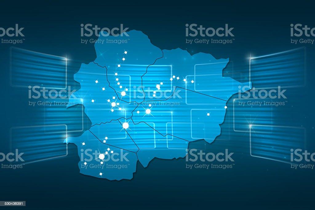 andorra Map World map News Communication blue vector art illustration