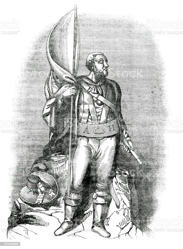 Andreas Hofer freedom fighter for Austria 1837 vector art illustration