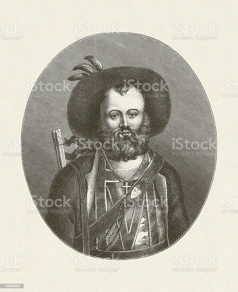Andreas Hofer (1767-1810), Tyrolean freedom fighters, wood engraving, published 1881 vector art illustration