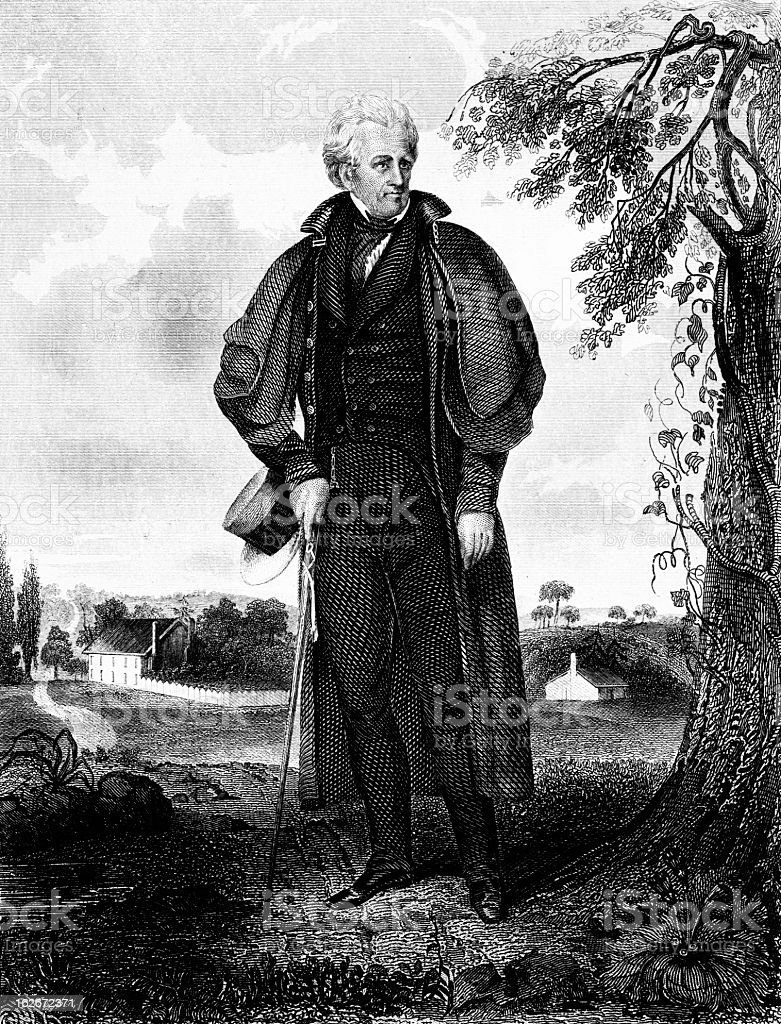 Andrew Jackson - Antique Engraved Image vector art illustration