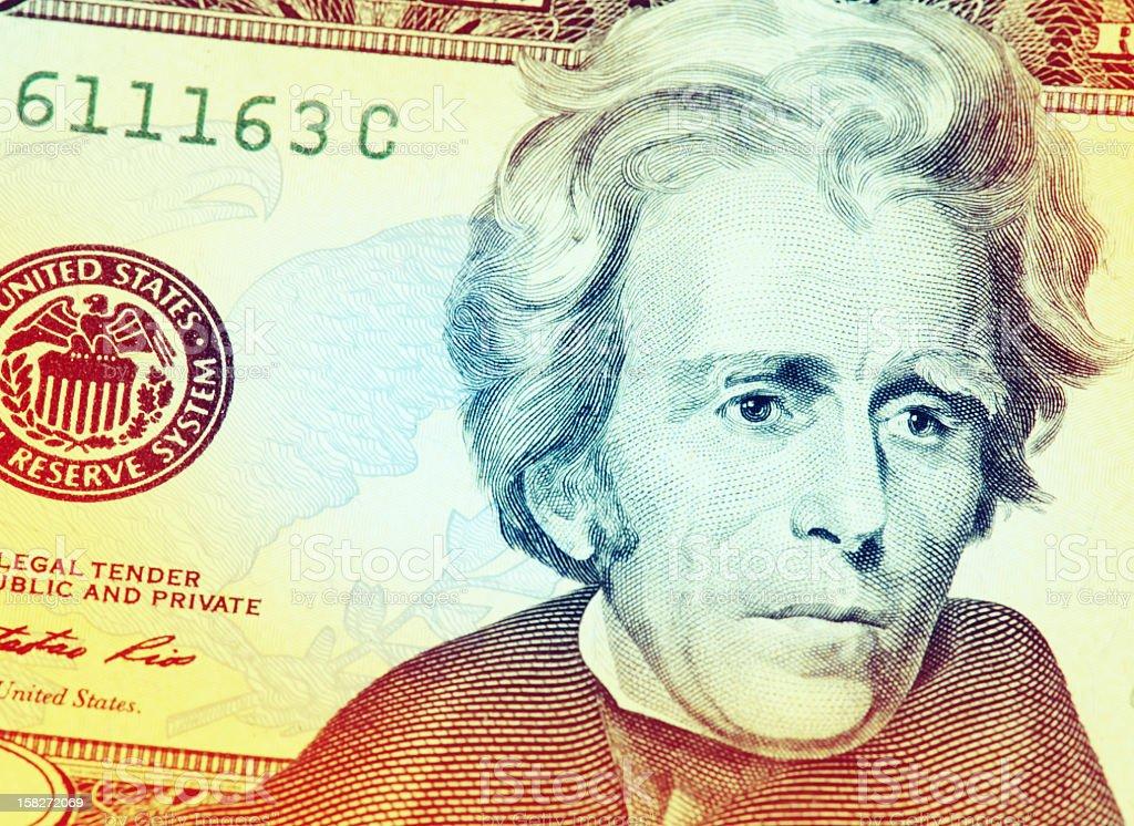 Andrew Jackson on a $20 vector art illustration