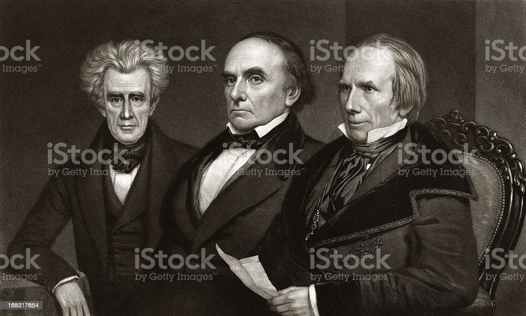 Andrew Jackson,Daniel Webster and Henry Clay, American Politicians. vector art illustration