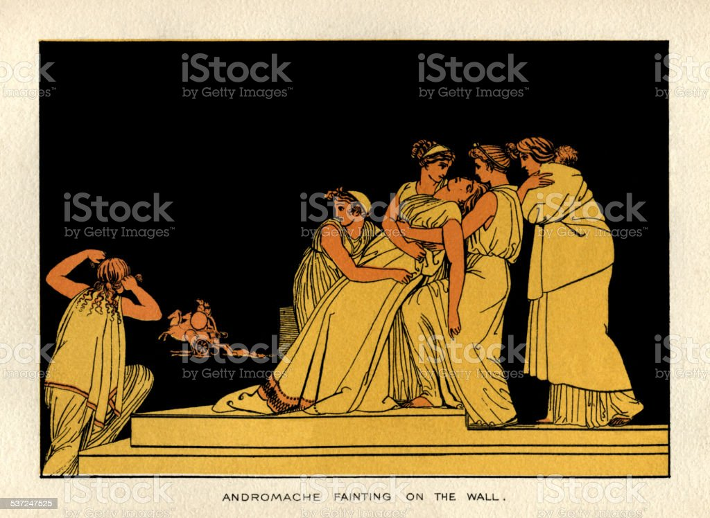 Andromache fainting on the wall vector art illustration
