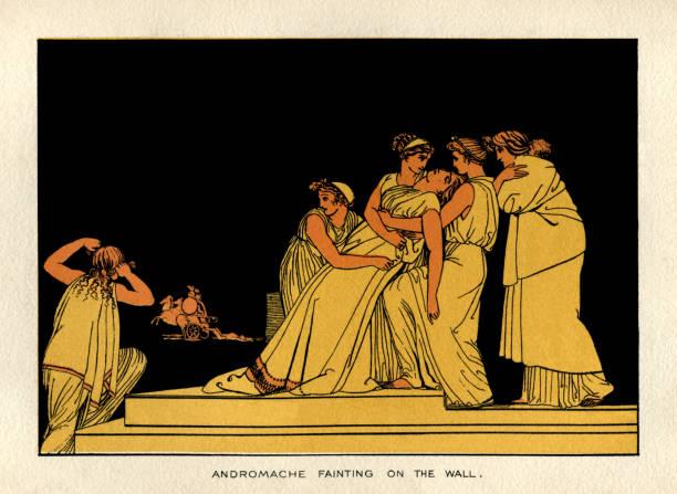 Andromache fainting on the wall vector art illustration