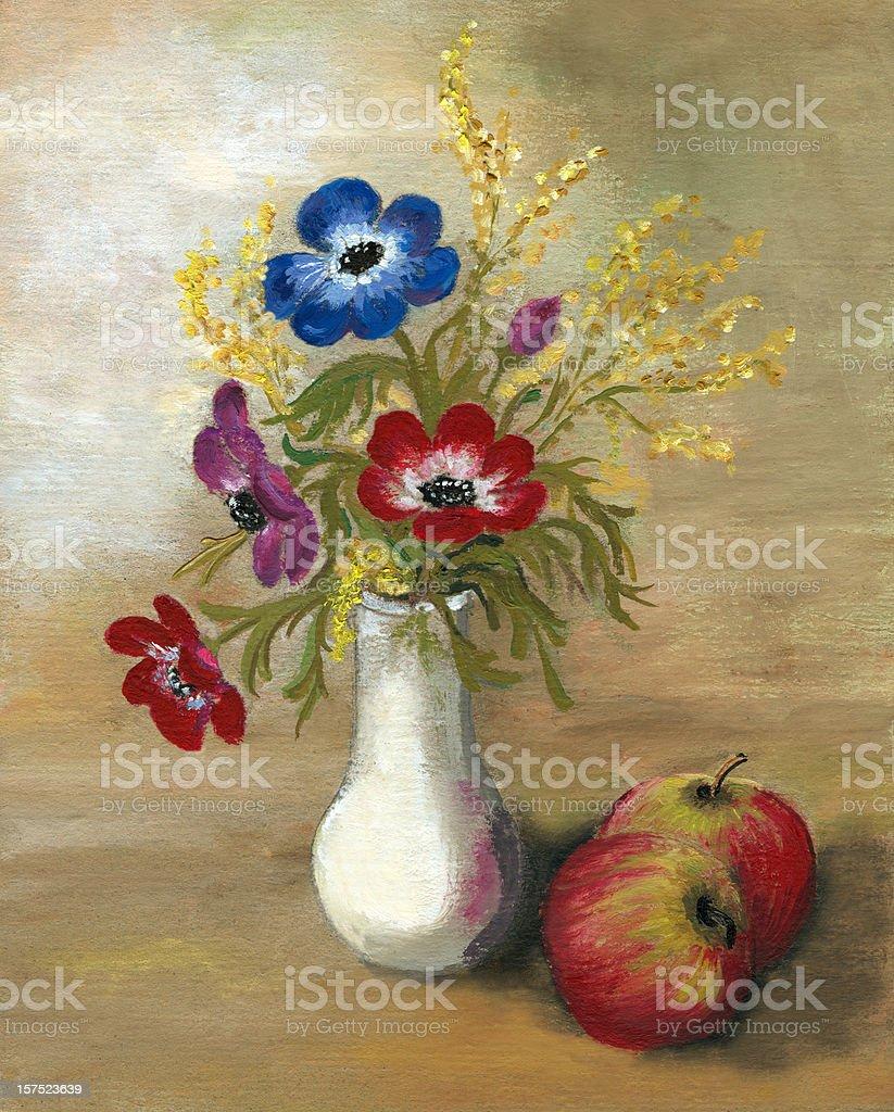 Anemone Arrangement with Apples vector art illustration
