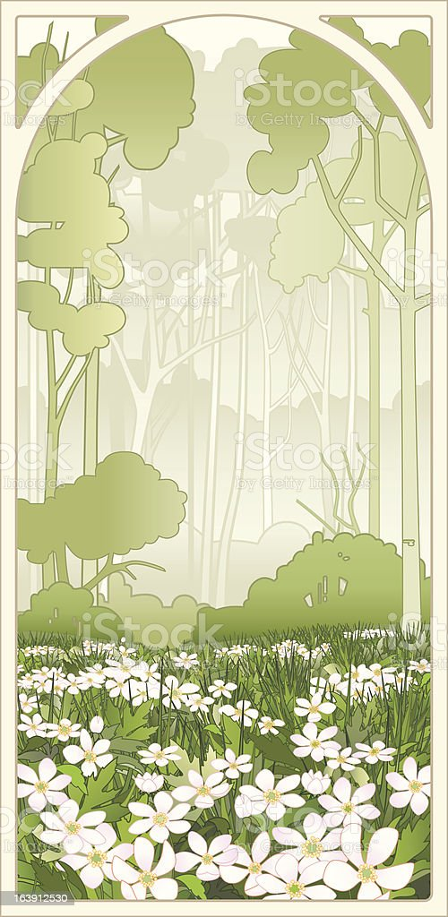 Anemone flowers in the spring forest vector art illustration