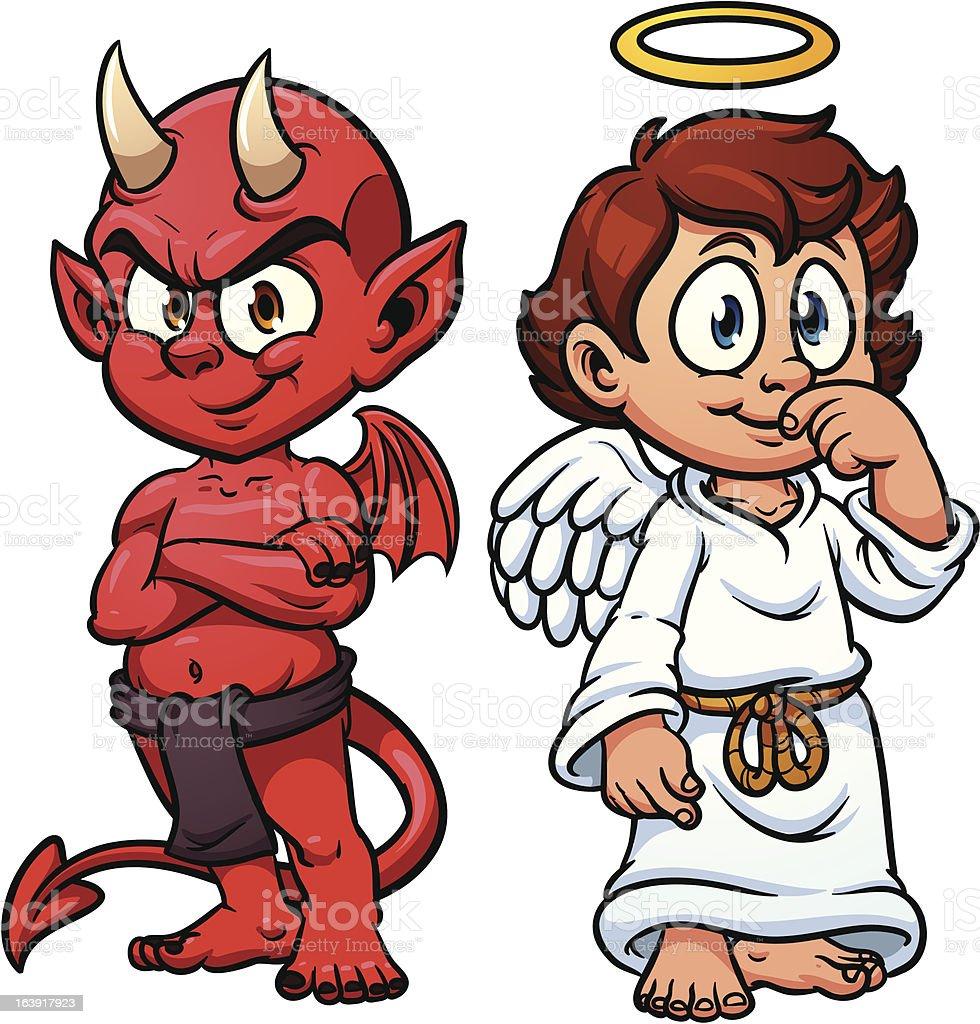 Engelchen Und Teufelchen Stock Vektor Art und mehr Bilder