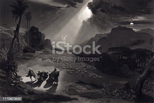 Vintage Biblical illustration features an angel appearing to shepherds tending their sheep. Image is a representation of the Bible verse, Luke II, 10, 13, 14:
