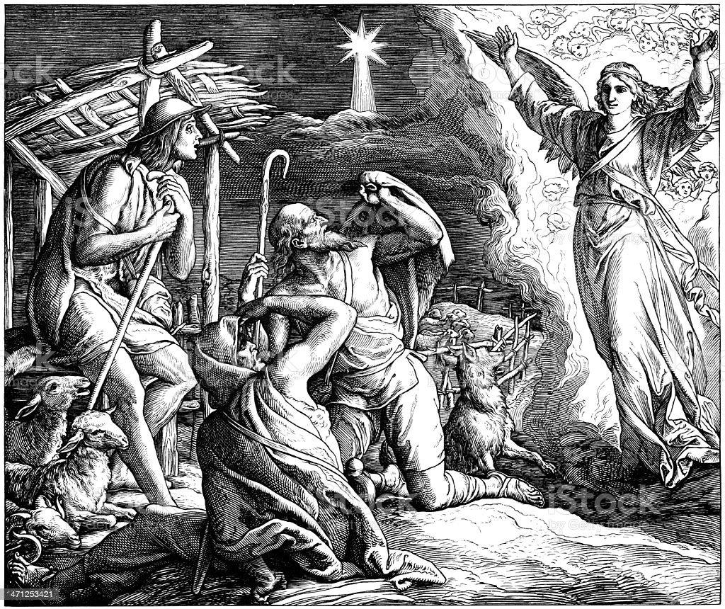 Angel Appears to Shepherds vector art illustration