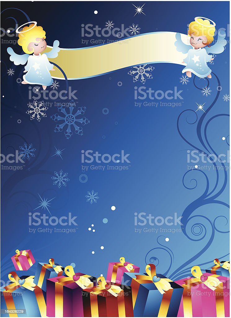 angel banner and gift box royalty-free angel banner and gift box stock vector art & more images of abstract